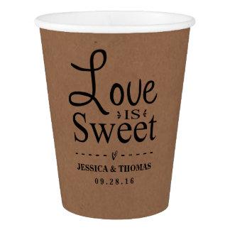 Love Is Sweet! Rustic Kraft Custom Wedding Paper Cup