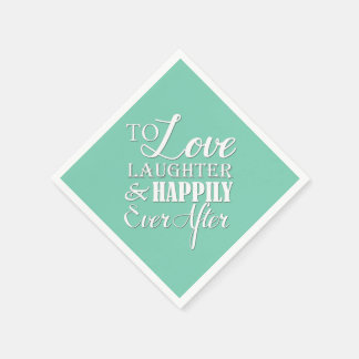 Love Laughter Happily Ever After Wedding Napkin Disposable Serviette