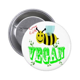 love life bee vegan 2 inch round button