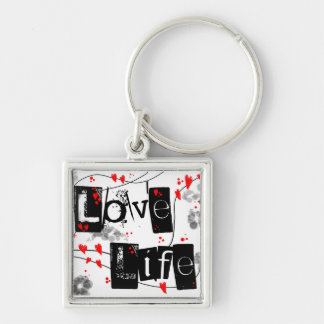 Love Life black,red,hearts,dots text key-ring Silver-Colored Square Key Ring