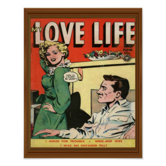 Love Life Flirt Romance Comic Illustration Retro Poster