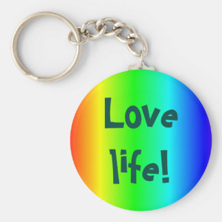 Love life! key-ring multi-colored basic round button key ring