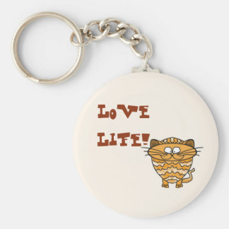 Love life! key-ring with cartoon cat basic round button key ring
