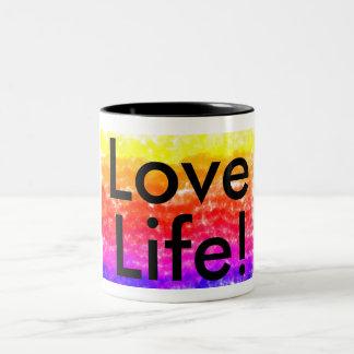 Love Life! muilt-coloured and black text mug