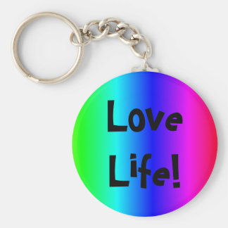 Love life text key-ring multi-colored basic round button key ring