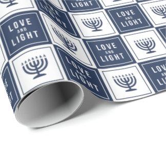 Love & Light | Modern Hanukkah Menorah Wrapping Paper
