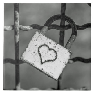 Love lock in black and white ceramic photo tile