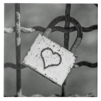 Love lock in black and white ceramic photo tile