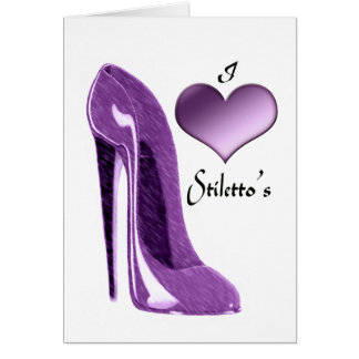 Love Luscious Lilac Stiletto Shoe and Heart Note Card