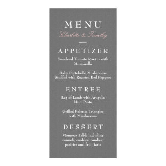 Love & Marriage Modern Wedding Menu Personalised Rack Card