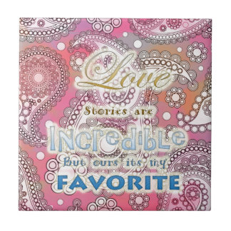 Love Message Small Square Tile