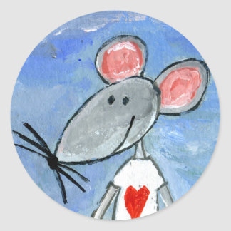 Love Mouse Classic Round Sticker