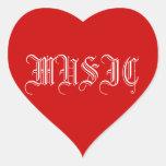 love music heart stickers