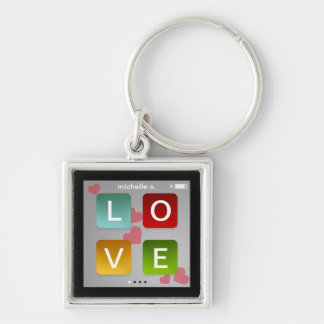 LOVE music player key fob ring ipod touch inspired Silver-Colored Square Key Ring