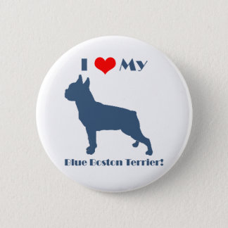 Love My Blue Boston Terrier 6 Cm Round Badge