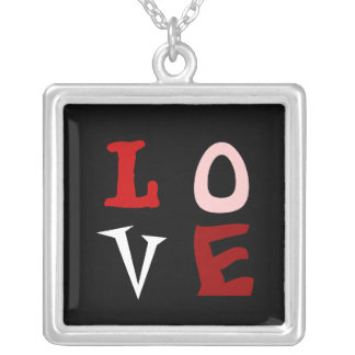 LOVE SQUARE PENDANT NECKLACE