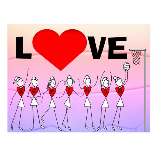 Love Netball Positions Stick Figures and Heart Postcard