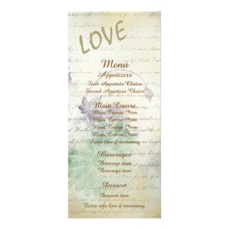 Love Never Fails Wedding Menu Rack Card Design