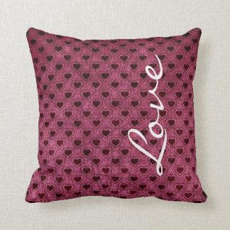 Love on a Dark Hearts Grunge Pattern Throw Pillow