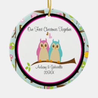 Love Owls Couple Christmas Ornament