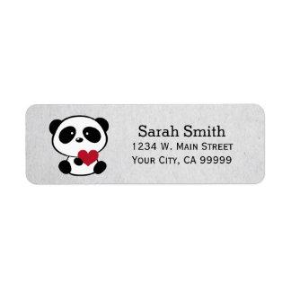 Love Panda Bear Return Address Labels