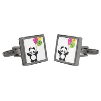 Love Panda® Gunmetal Finish Cufflinks