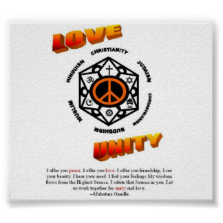 LOVE, PEACE, and UNITY Poster