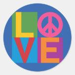 Love Peace Colour Block Round Sticker