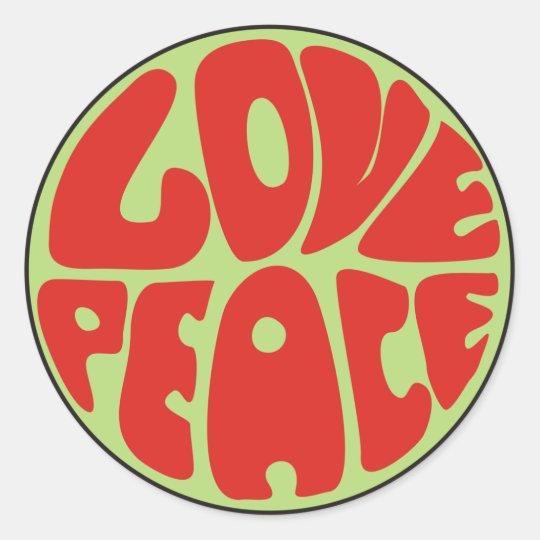 love peace hippie saying round sticker