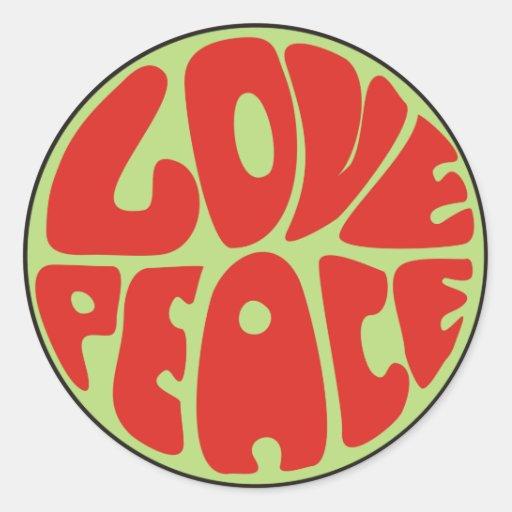 love peace Hippie Spruch Runder Aufkleber