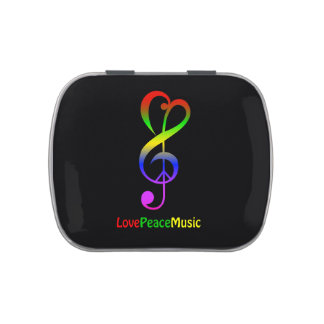 Love peace music hippie treble clef jelly belly candy tin