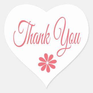 Love & Peace Pink Flower Thank You Heart Sticker