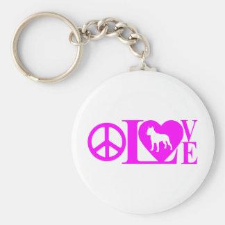 LOVE,PEACE,PIT BULL KEY RING