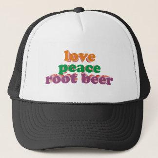 love peace roots more beer trucker hat