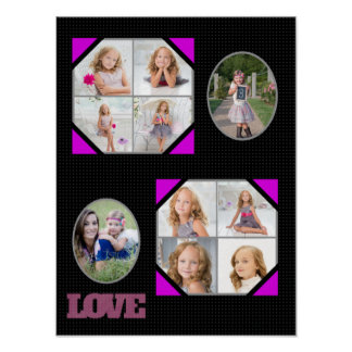 Love Pink Black Photo Replace Collage Poster