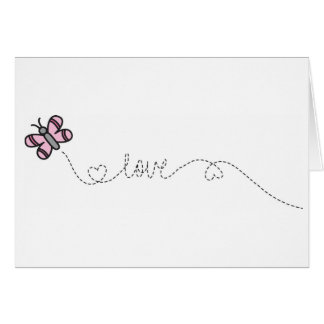 love pink butterfly note card