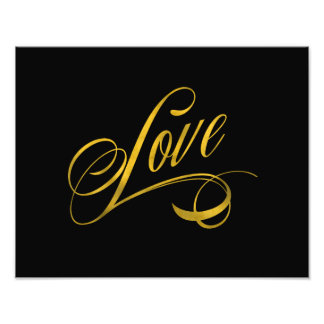 Love Quote Gold Faux Foil Quotes Metallic Wedding Photo Print