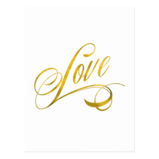 Love Quote Gold Faux Foil Quotes Metallic Wedding Postcard