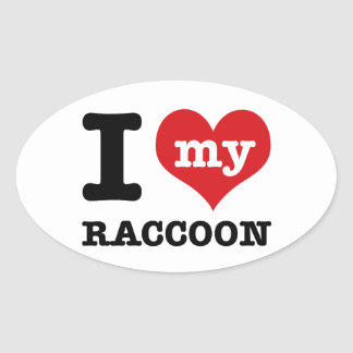 love Racoon Oval Sticker