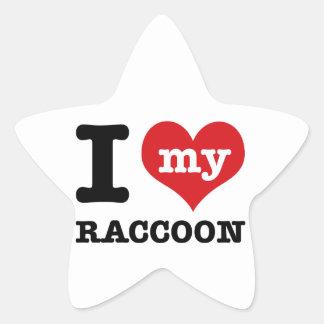 love Racoon Star Sticker