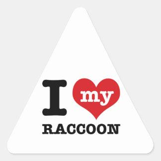love Racoon Triangle Sticker