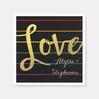 Love Rainbow Pinstripe LGBT Faux Gold Foil Paper Serviettes