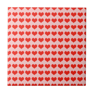 Love red hearts small square tile