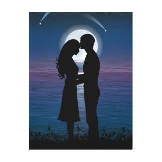 Love Romance Silhouette Couple On The Lake Coast Canvas Prints