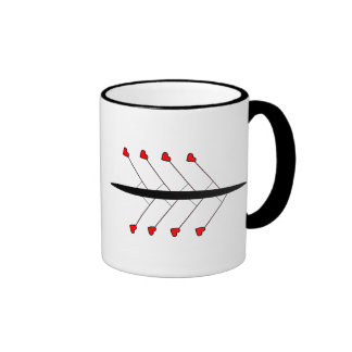 Love Rowing slogan and boat Ringer Mug