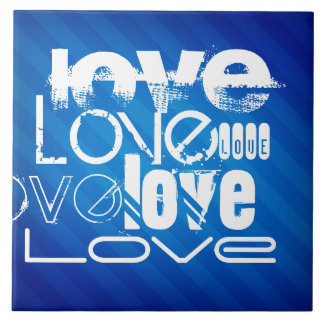 Love; Royal Blue Stripes Tile