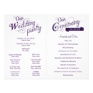 Love Story Wedding Program Flyer-Purple Flyer