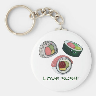 Love Sushi Basic Round Button Key Ring
