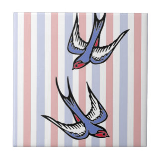 Love Swallows Small Square Tile