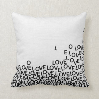 Love Text Black and White Modern Typography Throw Pillow